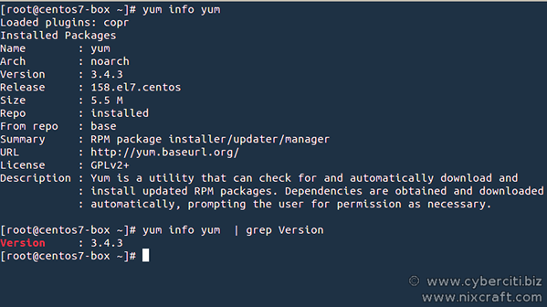 Find yum command version on a CentOS RHEL