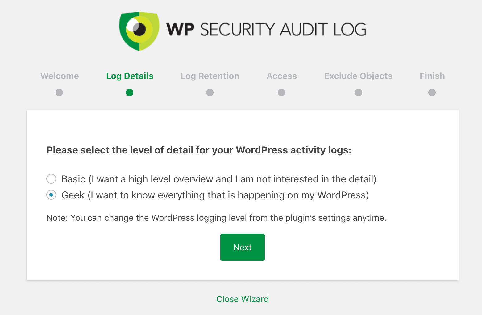 WP Security Audit Log geek settings
