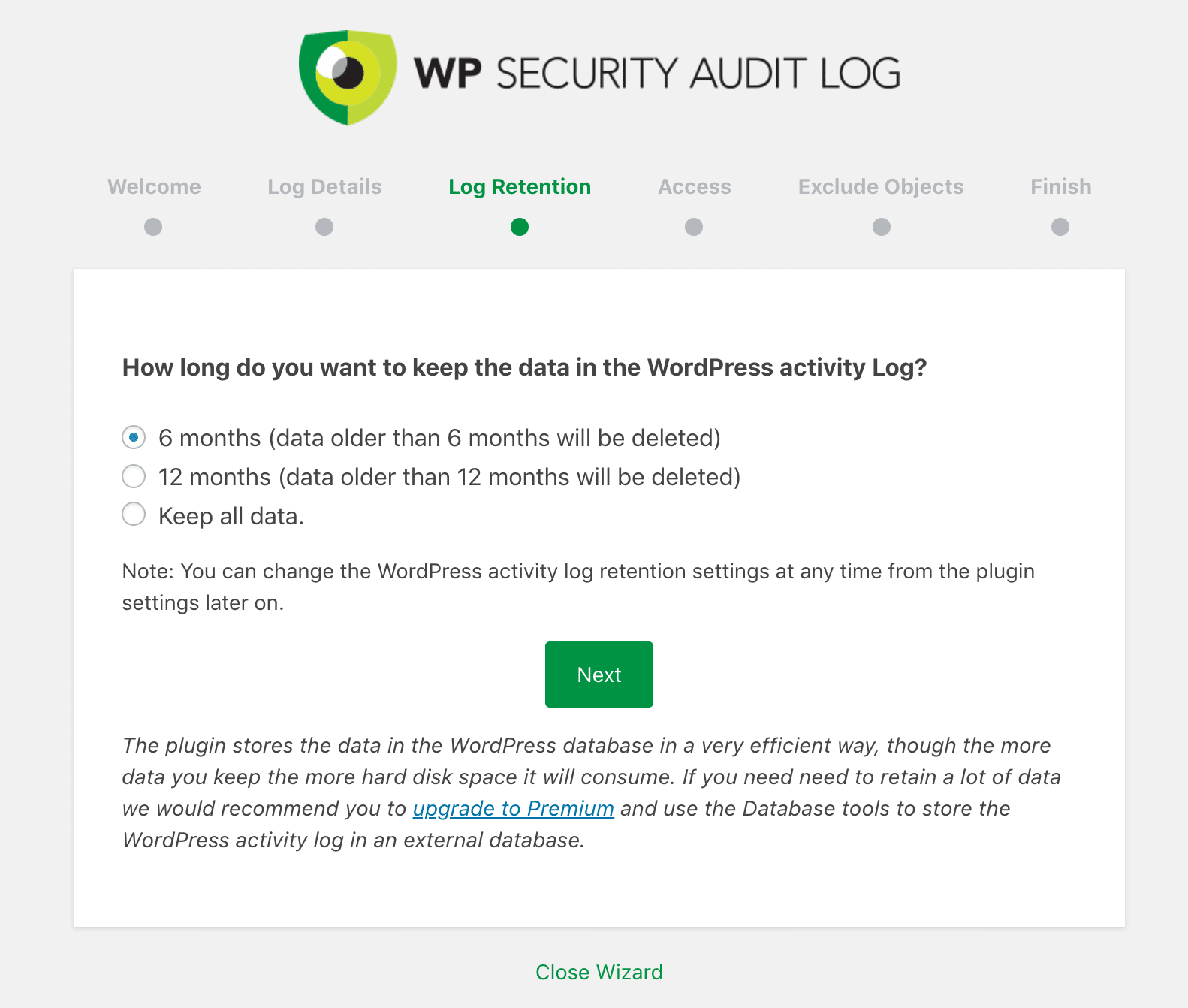 WP Security Audit Log data retention
