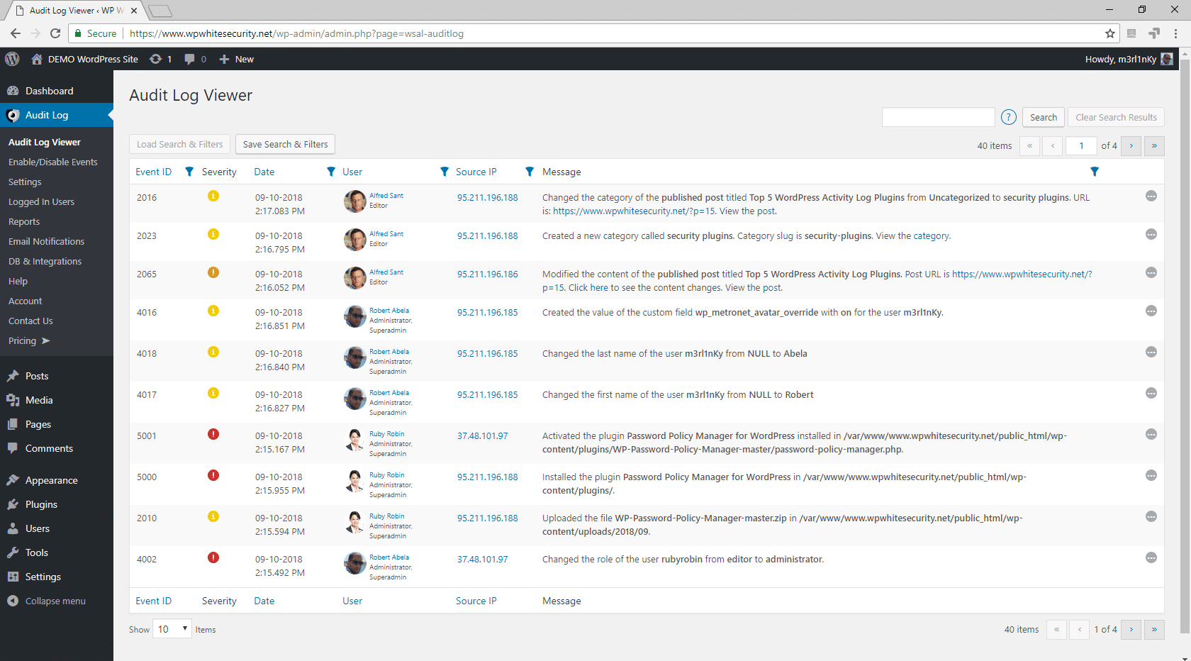 WordPress track user activity