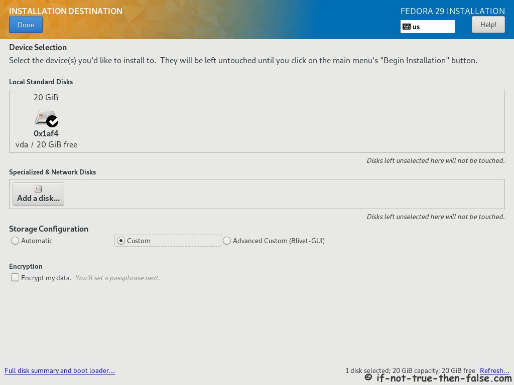 Fedora 29 Server Install Installation Destination