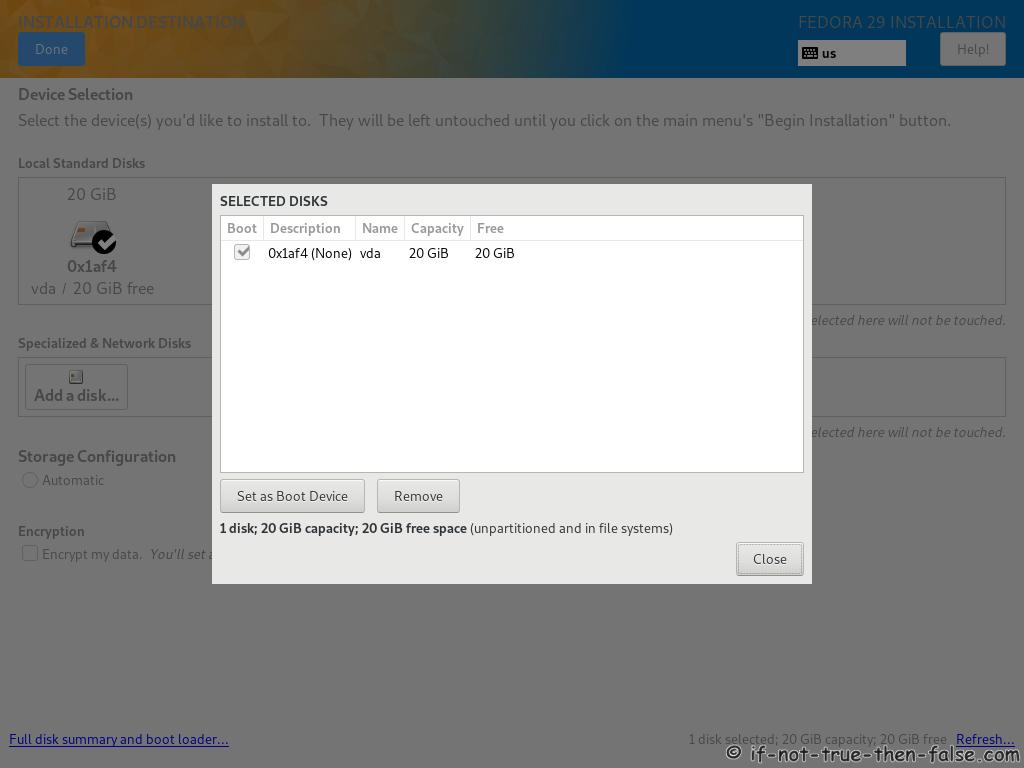Fedora 29 Server Install Full Disk Summary and Boot Loader