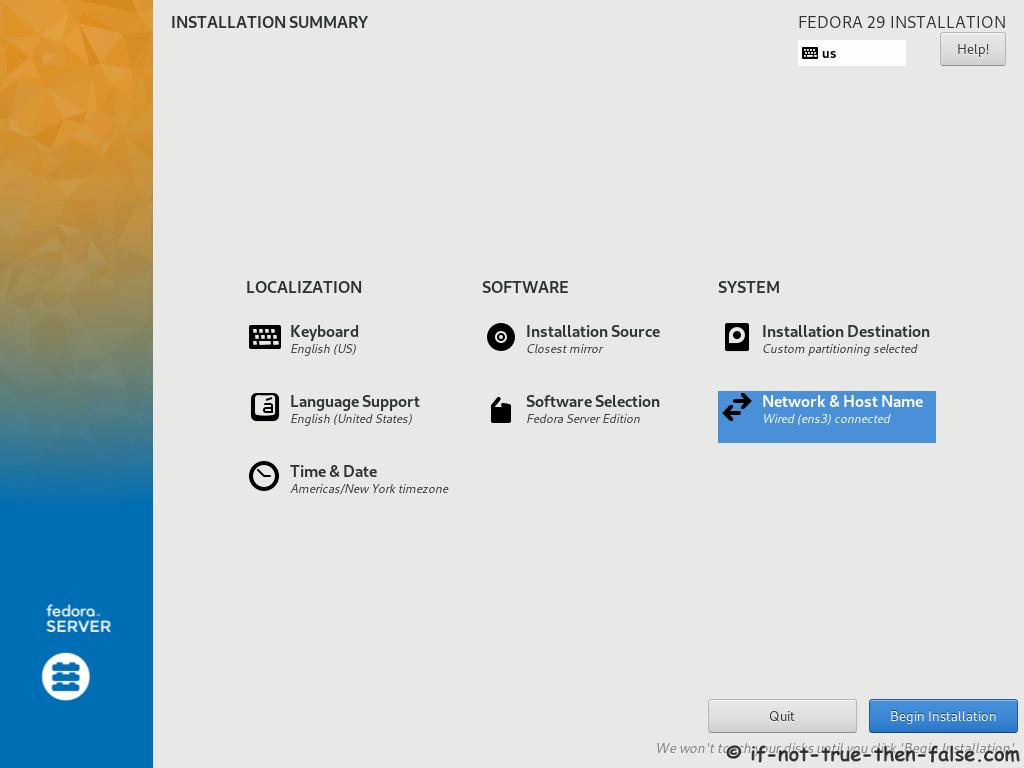 Fedora 29 Server Install Installation Summary All Done