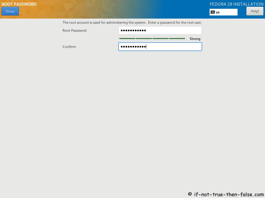 Fedora 29 Server Install Setup Root Password