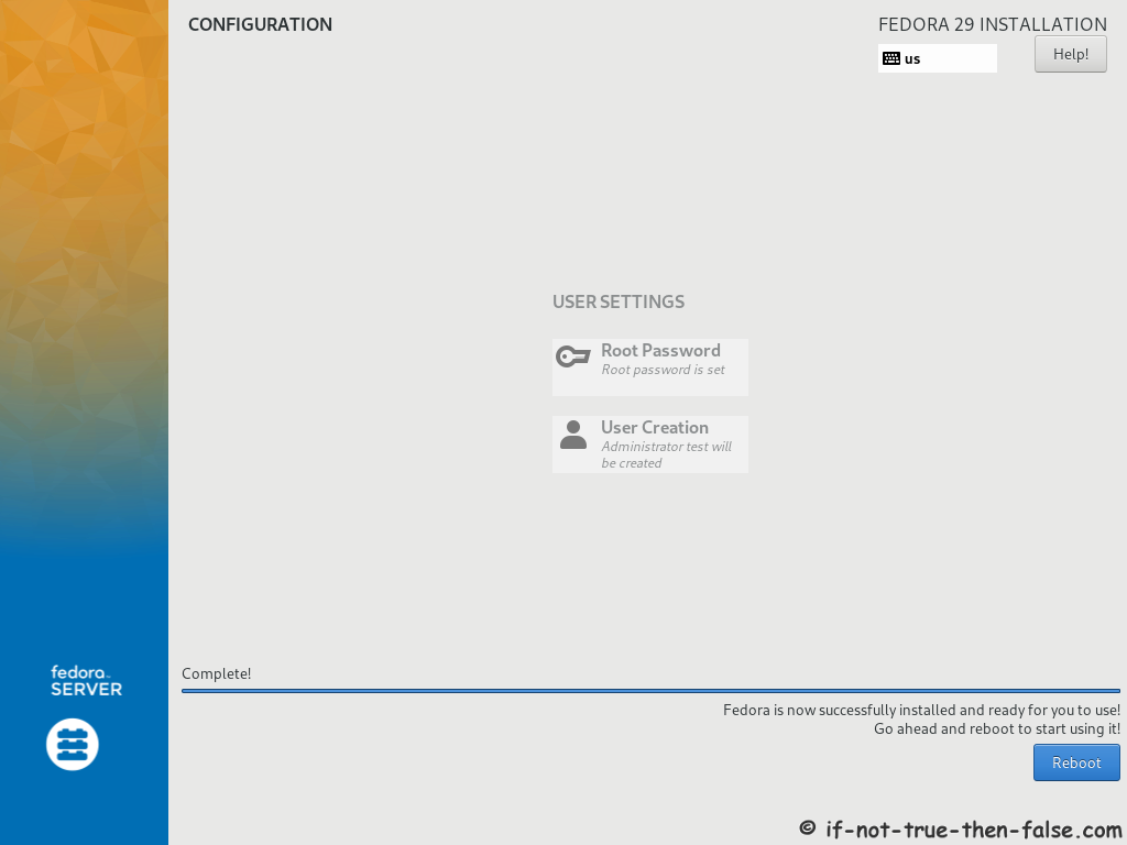 Fedora 29 Server Install Installation Done
