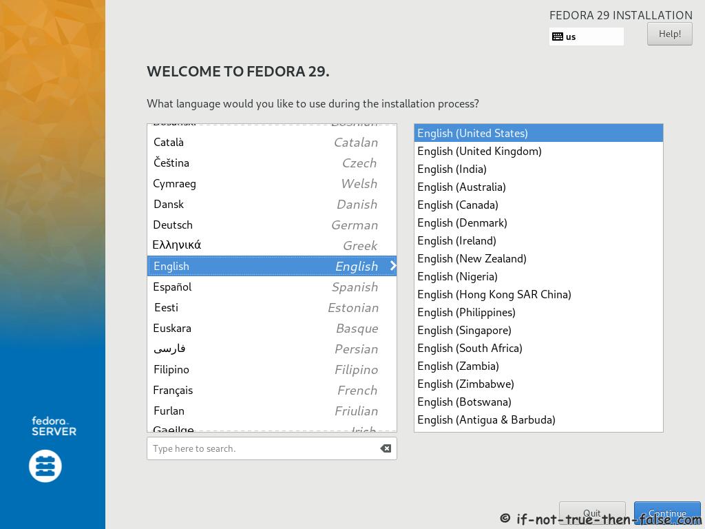 Fedora 29 Server Install Select Language