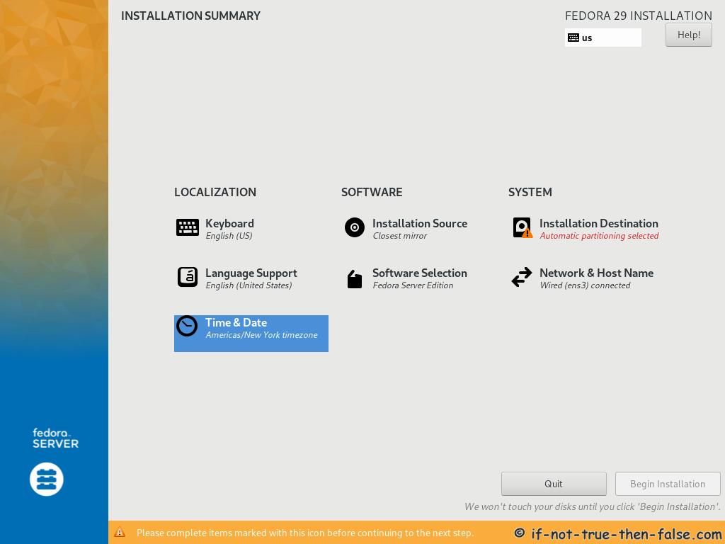 Fedora 29 Server Install Installation Summary