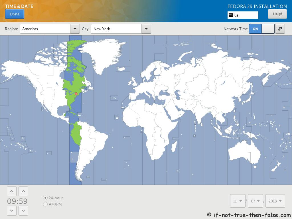 Fedora 29 Server Install Setup Time and Date