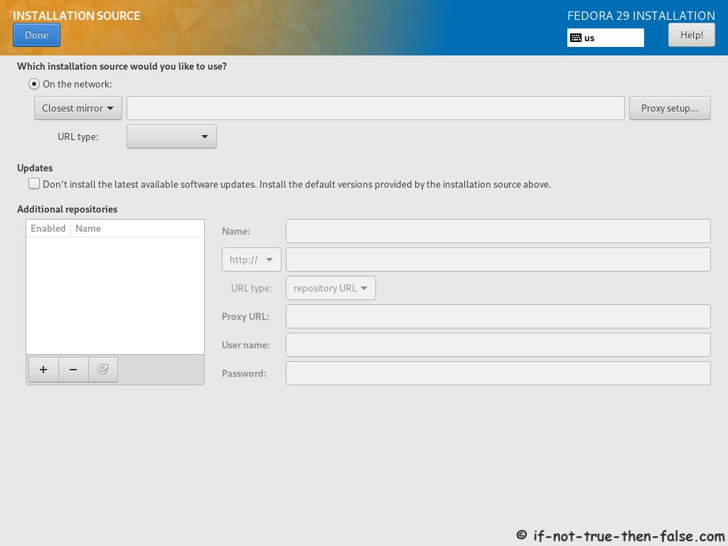 Fedora 29 Server Install Select Installation Source