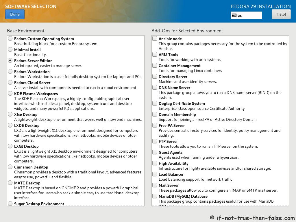 Fedora 29 Server Install Software Selection