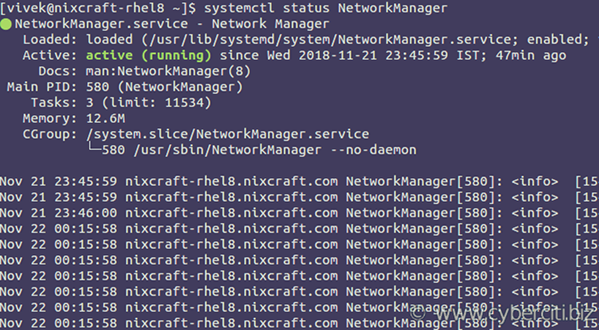 Starting Stopping Restating NetworkManager on RHEL 8