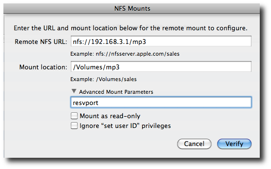 Fig.08: Setting up an NFS mount options in the dialog box