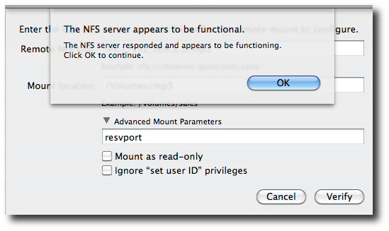 Fig.09: Verify NFS mount configuration which only checks that your NFS server is enabled and working correctly.