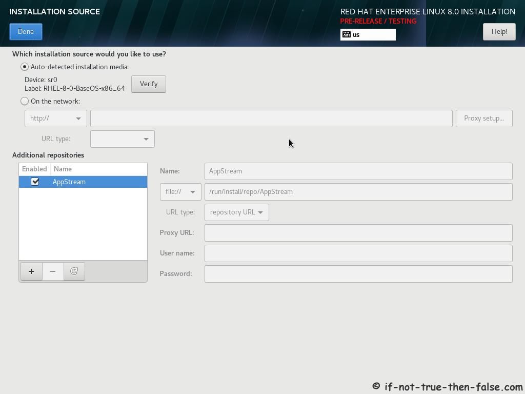 Red Hat RHEL 8 Install Installation Source