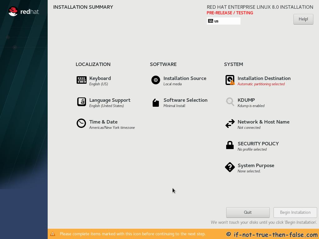 Red Hat RHEL 8 Install Installation Summary