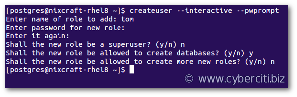 Creating user with password on PostgreSQL