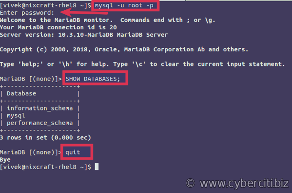 Testing the MariaDB server installation