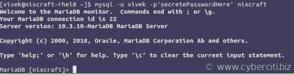 How to connect to the MariaDB server using user account