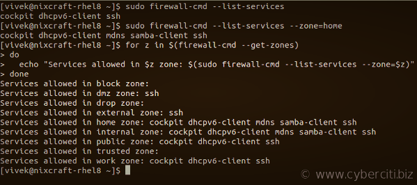 Firewalld see which services are allowed in the current zone