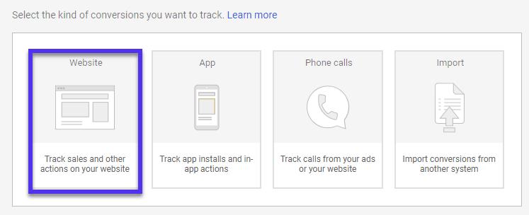Google Ads website actions