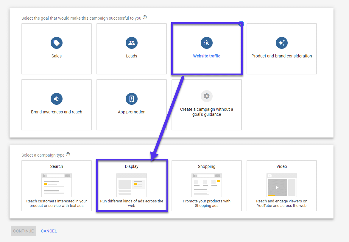 Google Ads website display