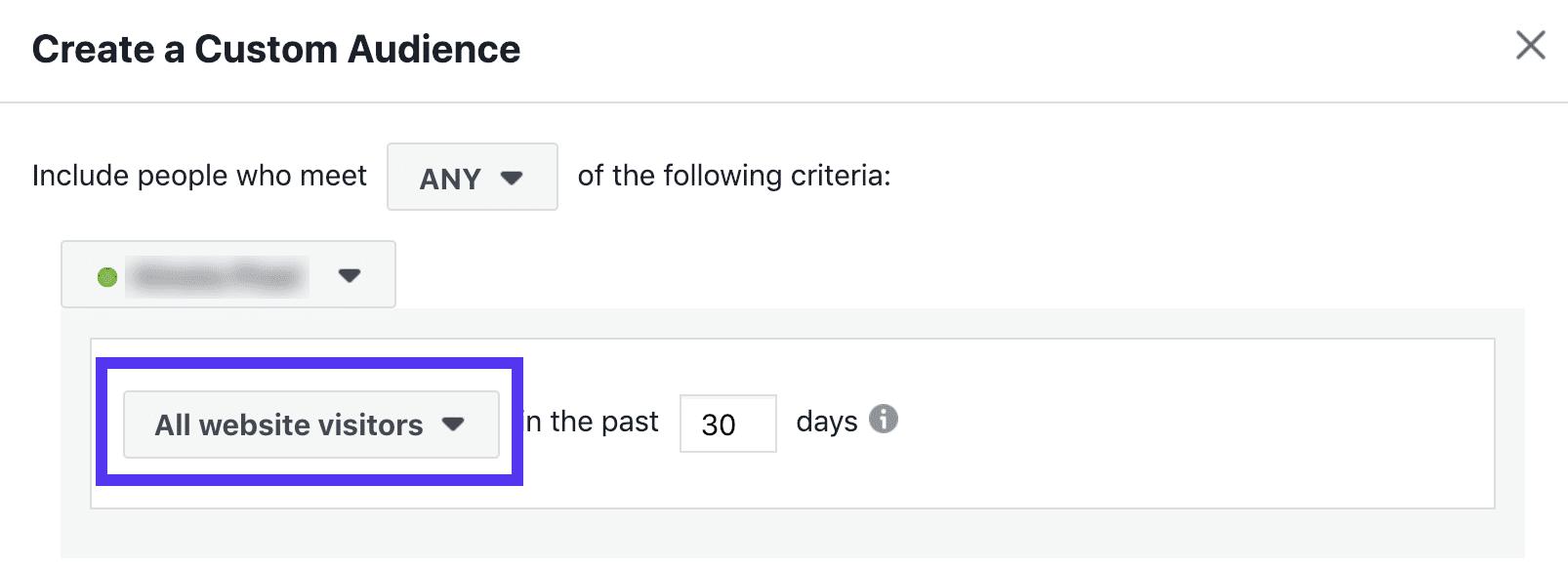 Facebook retargeting audience - last 30 days