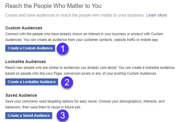 Facebook audience types