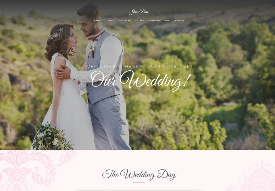 Jen+Ben | One Page Wedding WordPress Theme