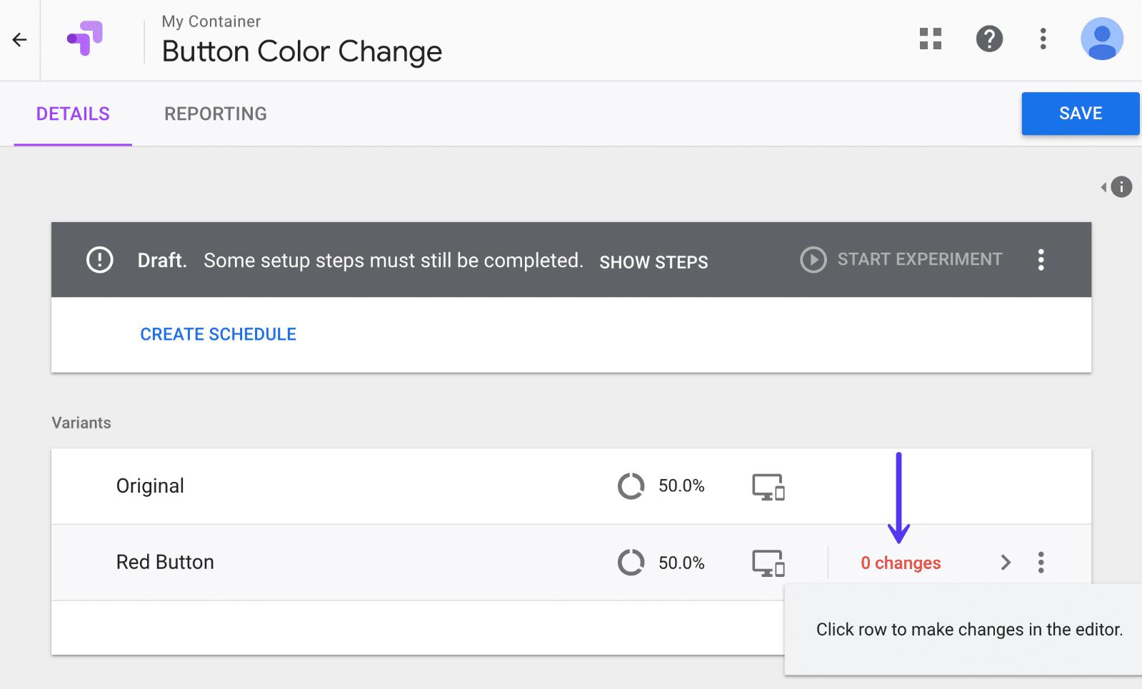 Google Optimize change variant