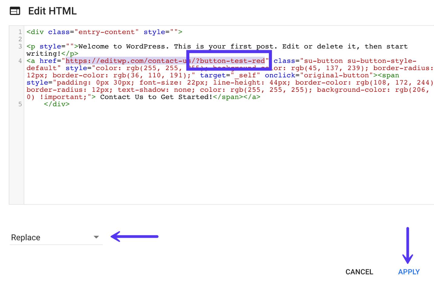Change button URL