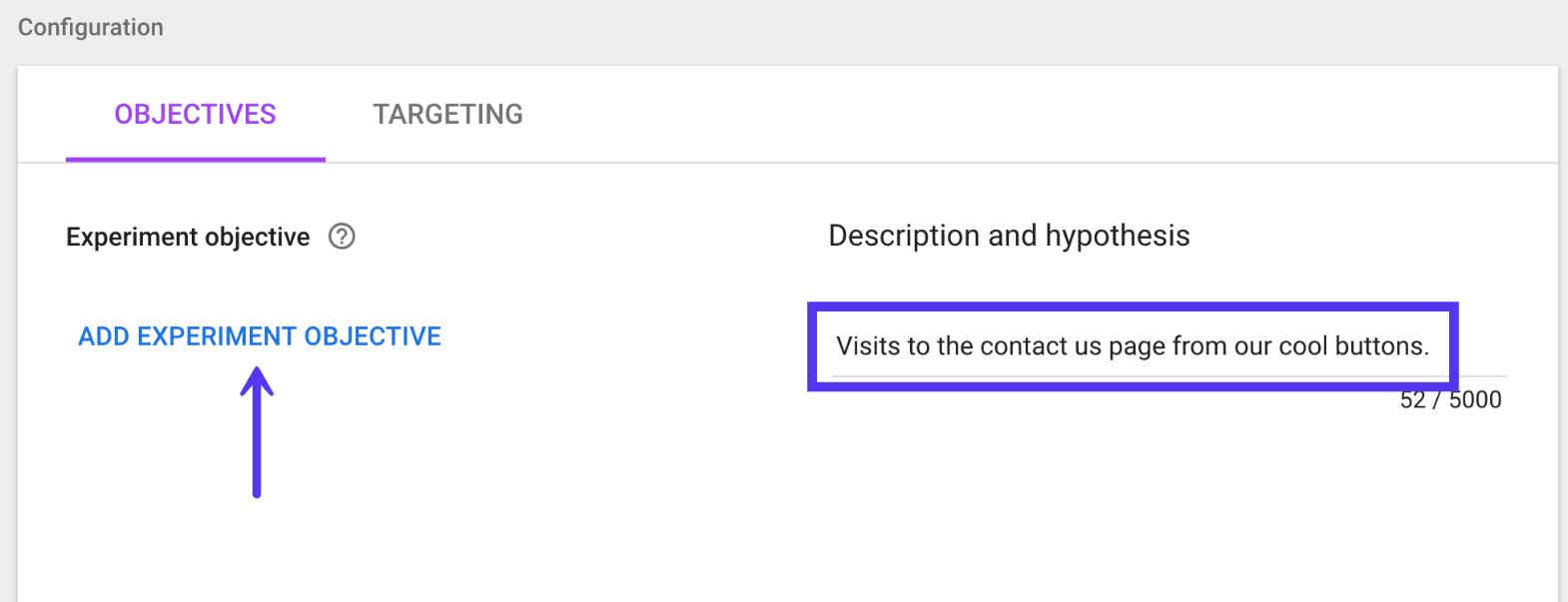 Google Optimize expirement objective