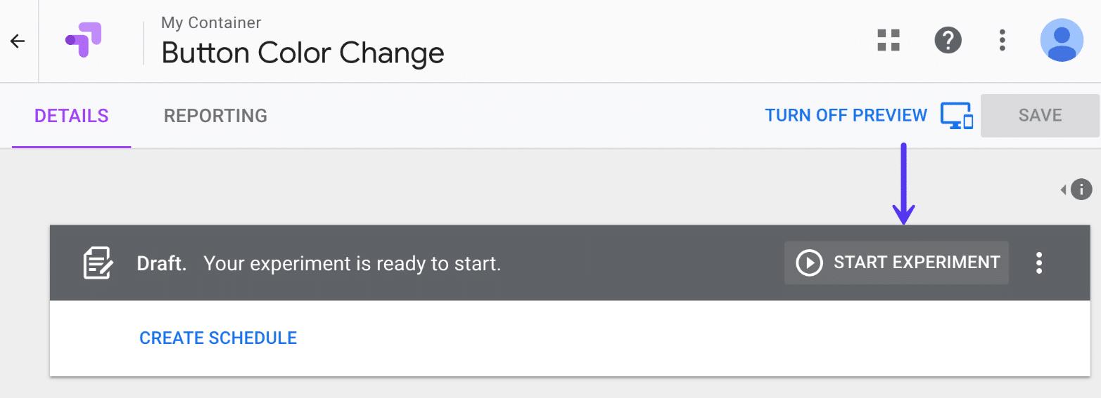 Google Optimize start experiment