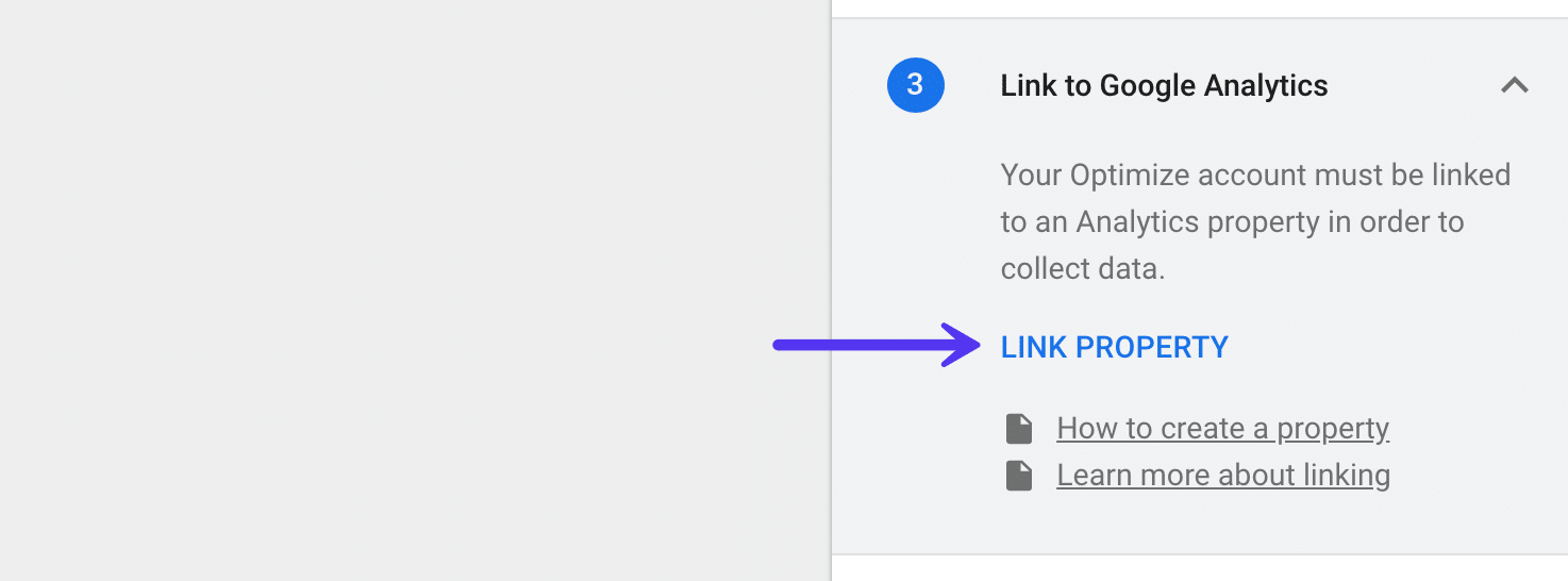 Google Optimize - Link Google Analytics Property