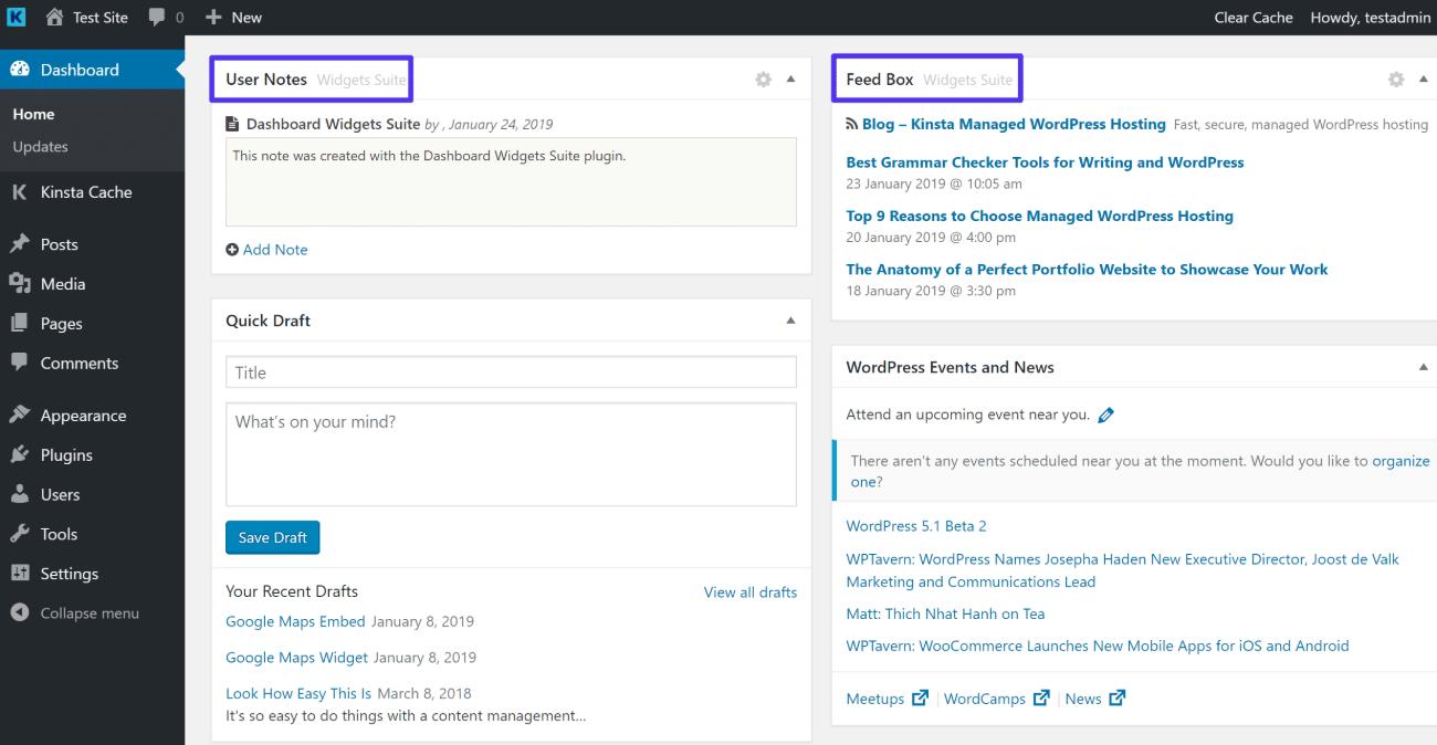 Example of widgets from Dashboard Widgets Suite