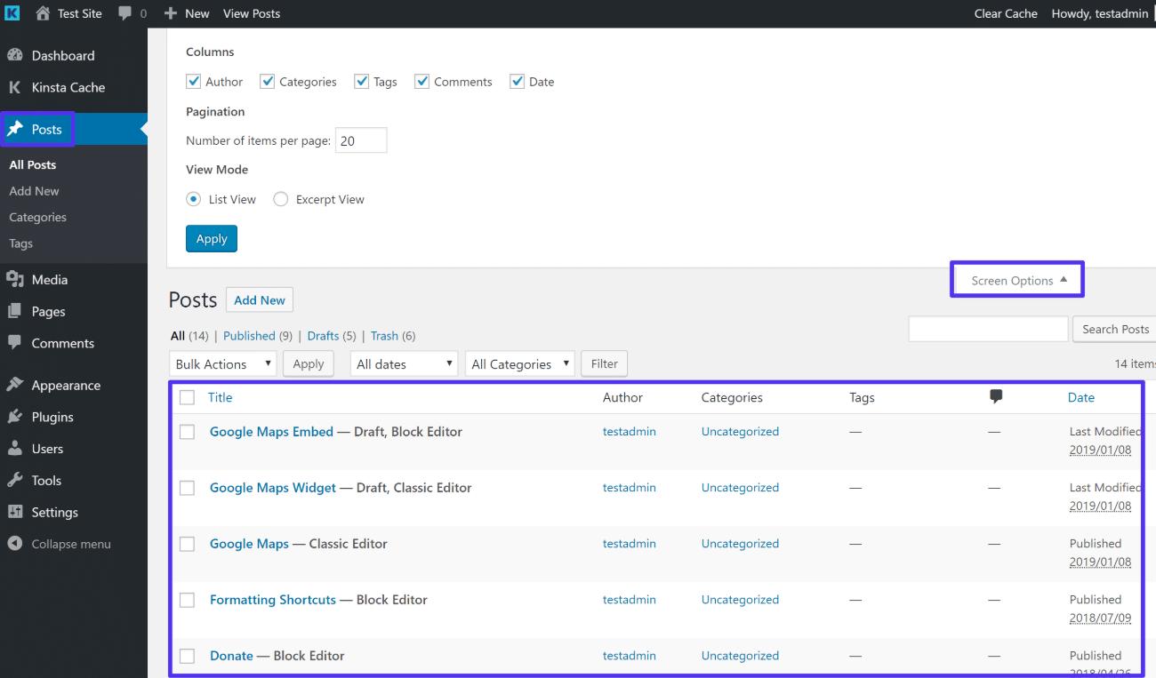 The Screen Options settings