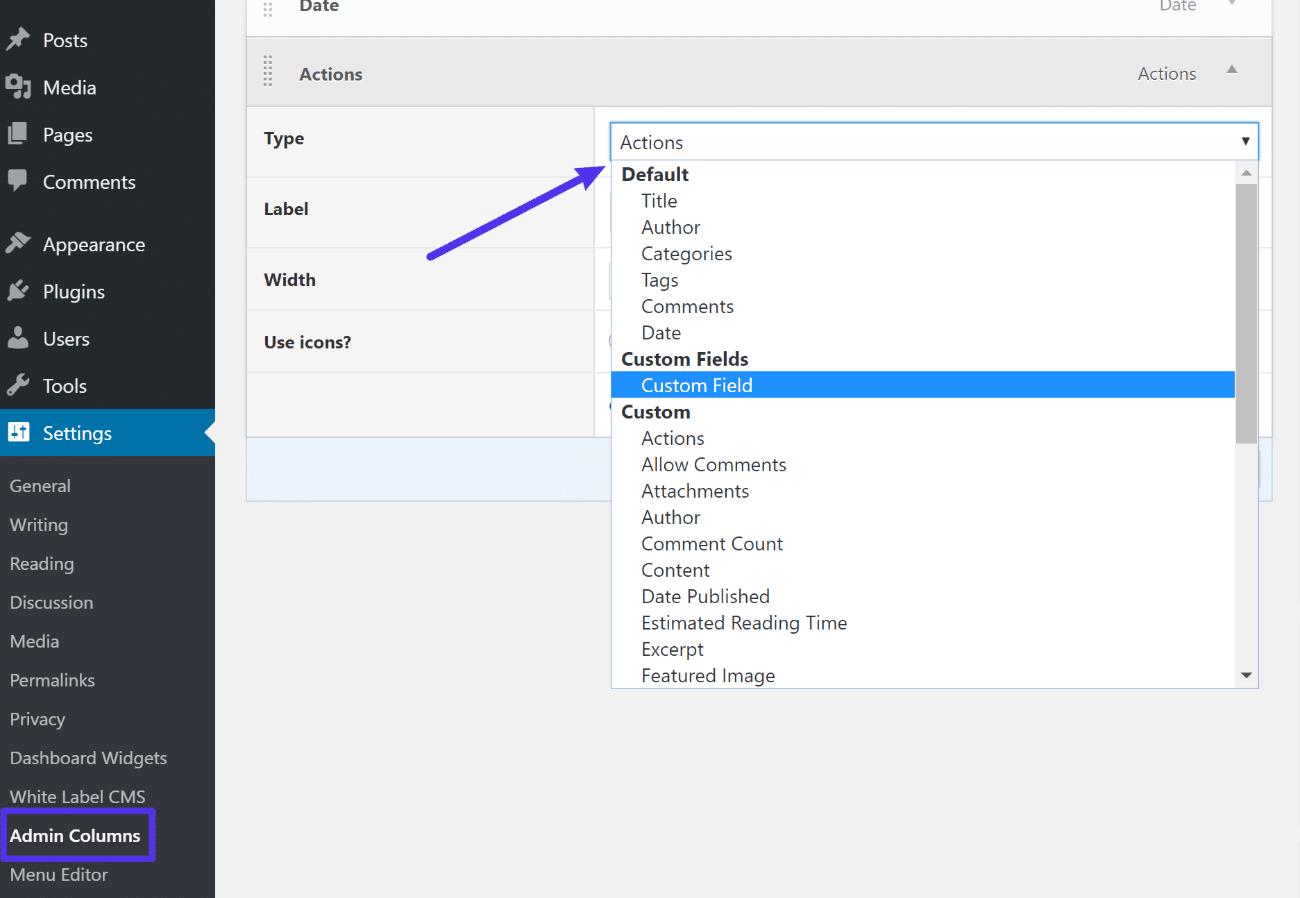 The Admin Columns interface