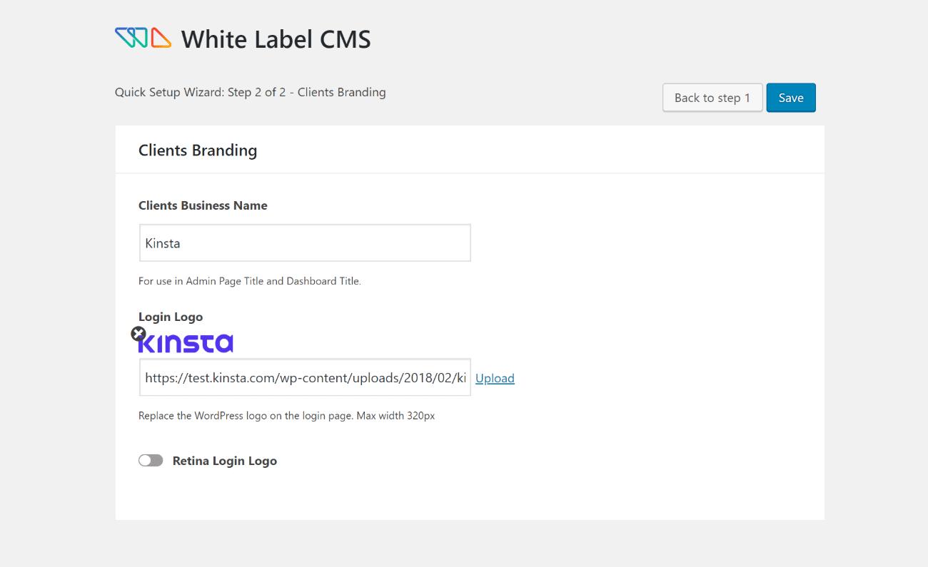 White Label CMS setup wizard part 2