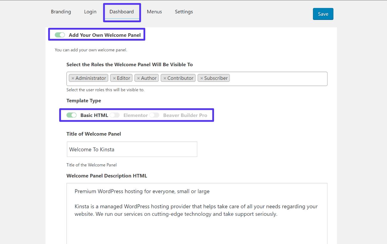How to add custom dashboard panel