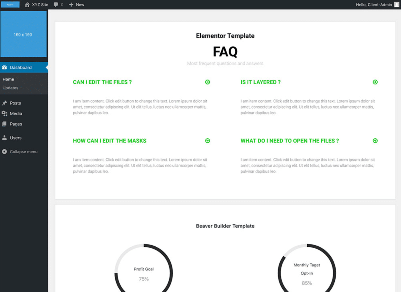 Example of a custom dashboard built with White Label CMS