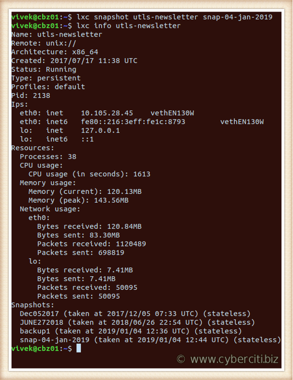 Linux create snapshots with lxc command for LXD