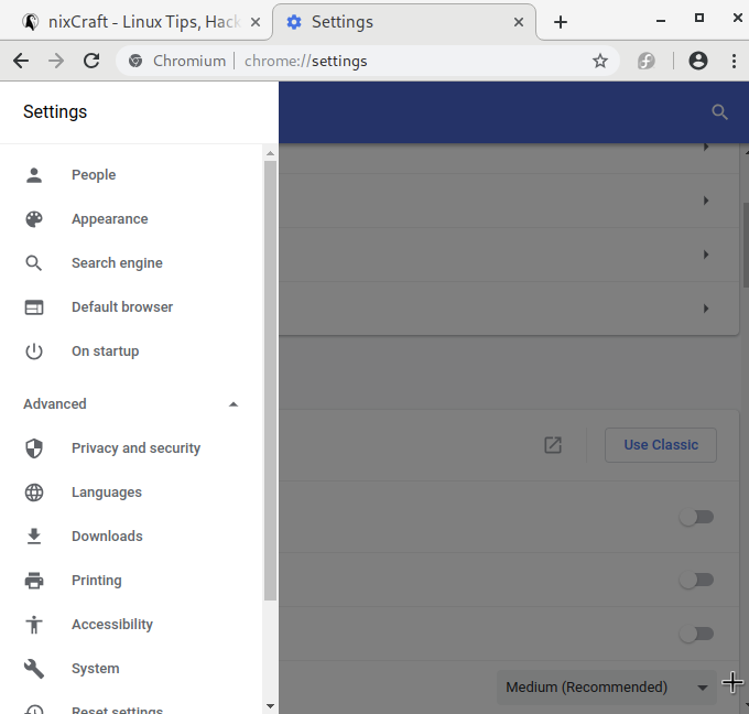 Chromium browser settings on Fedora Linux