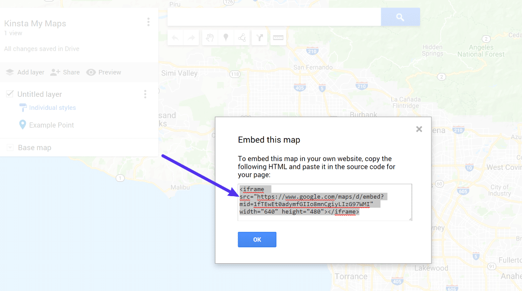 The My Maps embed code
