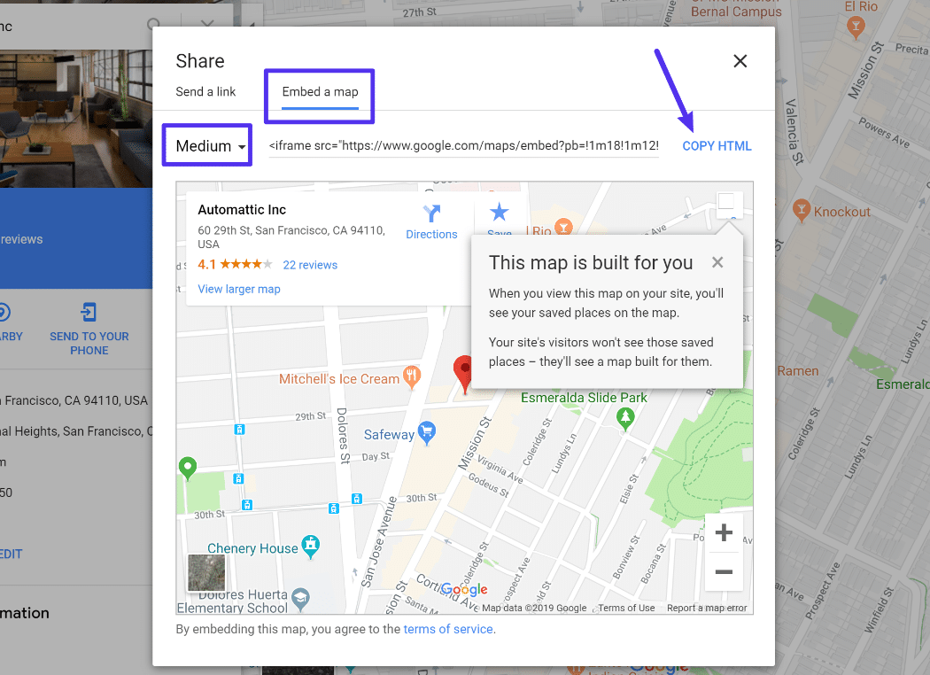 The WordPress Google Maps embed code