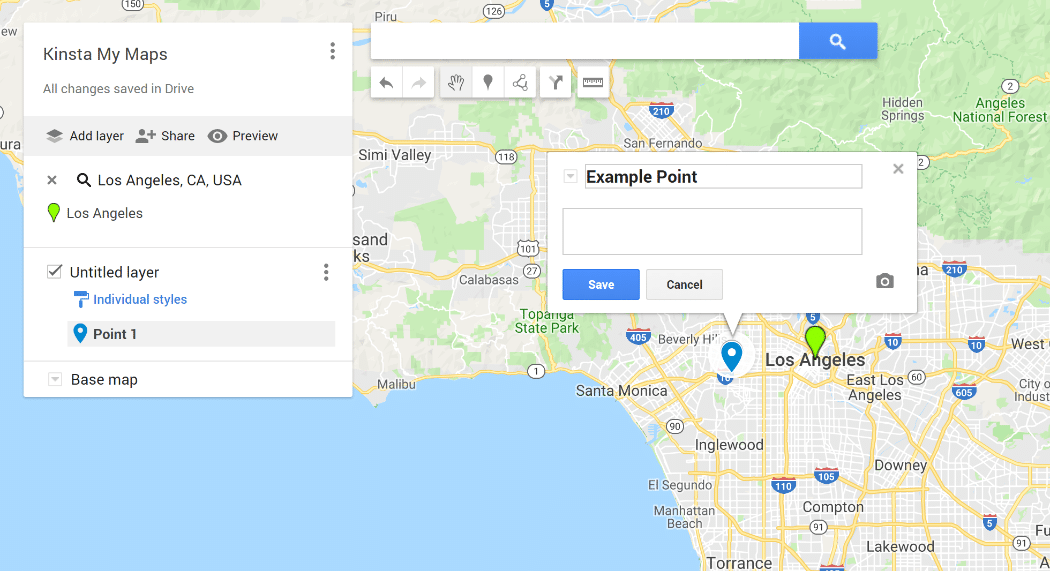 The Google My Maps interface