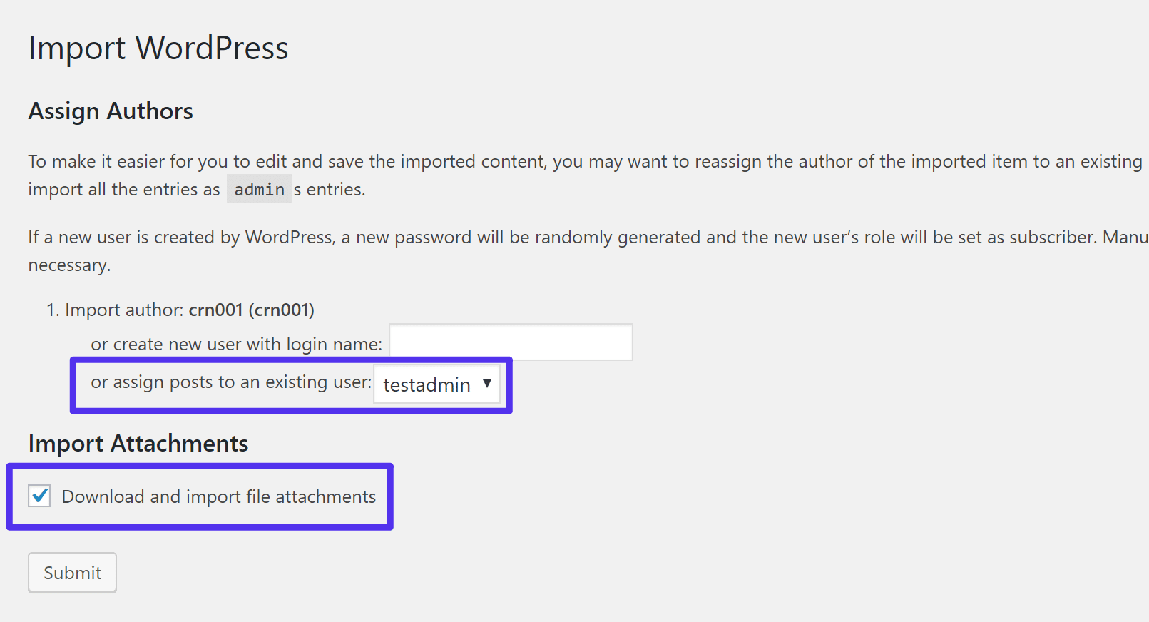 Configure the import settings
