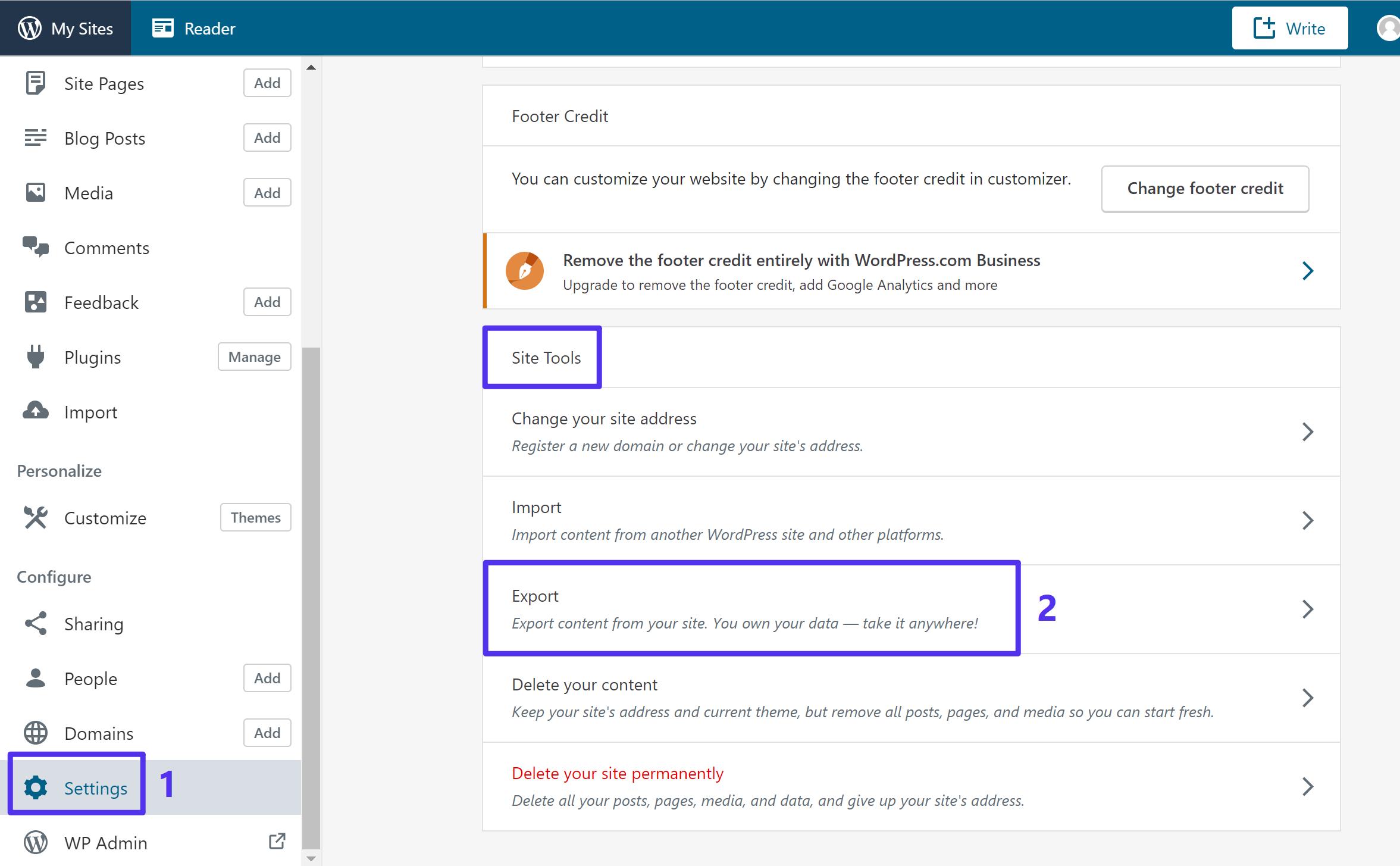 Access the WordPress.com Export settings