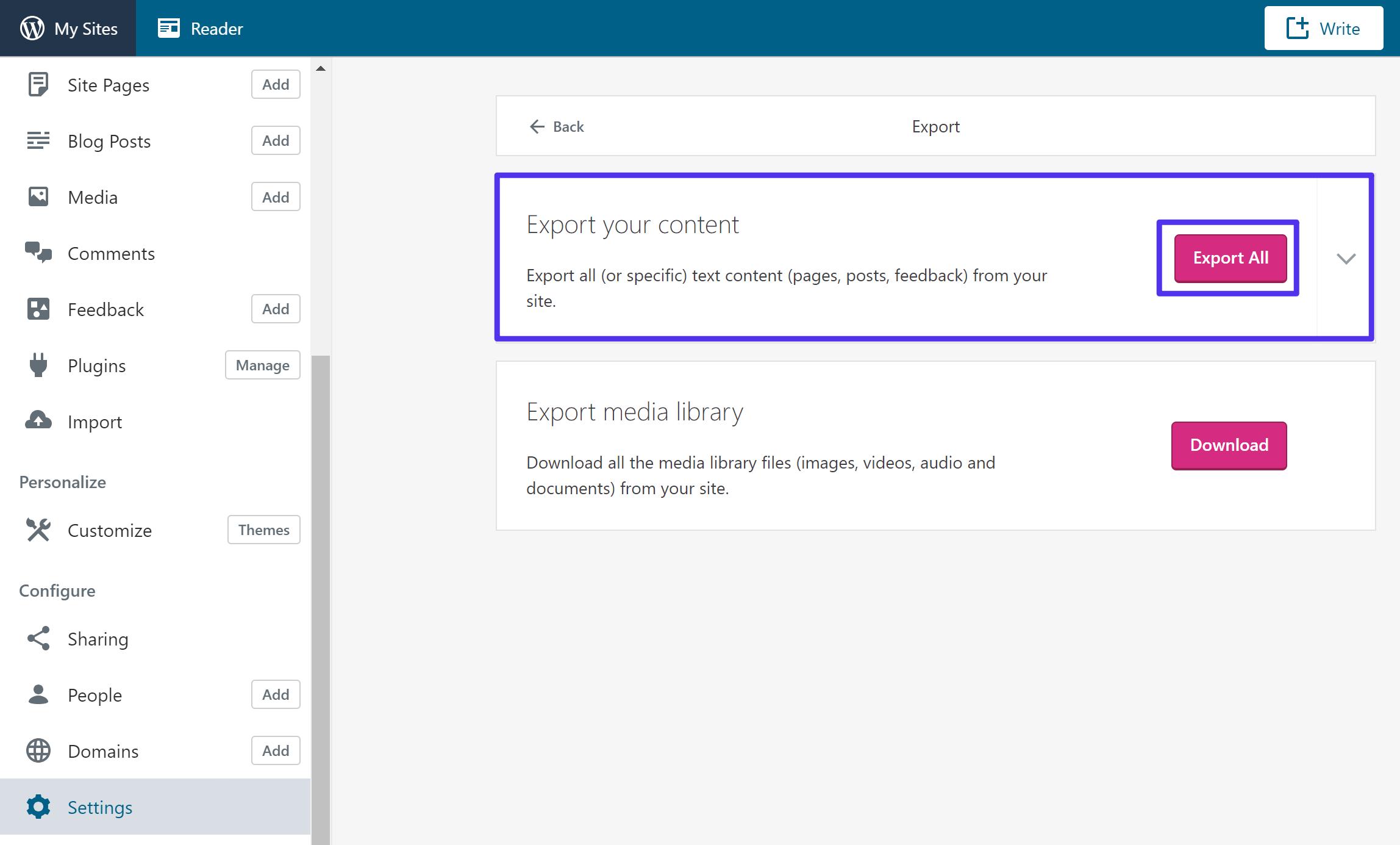 Export your content from WordPress.com