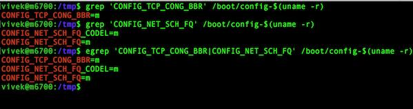 Fig.01: Make sure that your Linux kernel has TCP BBR option setup
