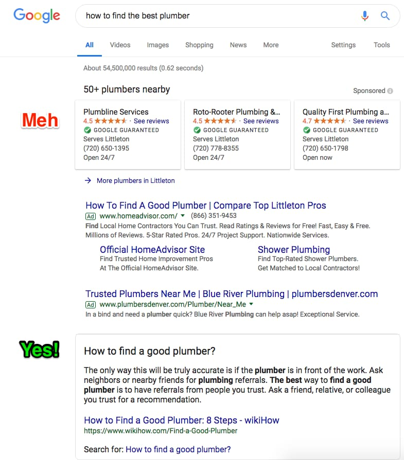 Find solution or provider in SERPs