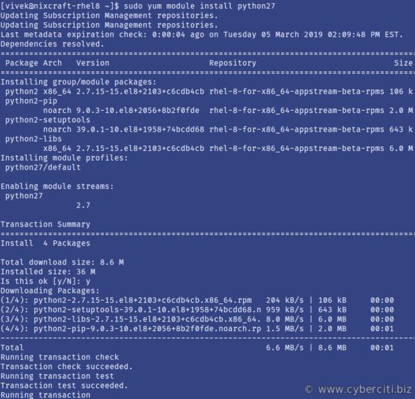 RHEL 8 install Python 2 using yum command